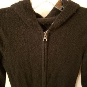 Black Hooded Zip Sweater